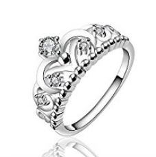 Yellow Chimes Royal Crown Austrian Crystal Silver Ring For Women and Girls for Rs. 350