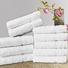 Story@Home Solid 10 Piece 450 GSM Rectangular Cotton Face Towel Set - White for Rs. 291