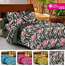 Buy Casa Basic 144 Thread Count Double Bedsheet With 2 Pillow Cover- black&red from Amazon