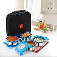 Cello Max Fresh Supremo Stainless Steel Lunch Box Set, 300ml, Set of 4, Blue for Rs. 799