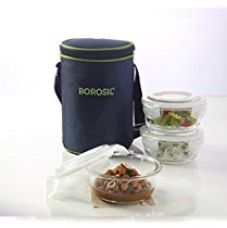 Borosil Klip N Store Microwavable Containers with Lunch Bag, 400ml, Set of 3, Transparent for Rs. 1,079