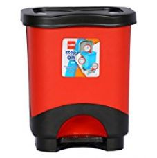 Buy Cello Step On Plastic Garbage Bucket, 8 Litres, Red and Black from Amazon