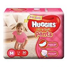 Buy Huggies Ultra Soft Pants Medium Size Premium Diapers for Girls (White, 30 Counts) from Amazon