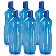 Buy Cello Sipwell PET Bottle Set, 1 Litre, Set of 6, Blue from Amazon