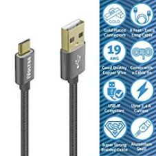Buy iVoltaa Data & Charging Micro USB Cable 6Ft Long, with Gold Plated connectors and thick copper wires (19 AWG) with 2.4 Amps Charging Speed for Samsung, Android Smartphones and More (Space Grey) from Amazon