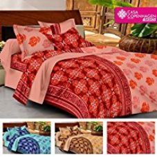 Buy Casa Basic 144 Thread Count Double Bedsheet With 2 Pillow Cover Orange & Red… from Amazon