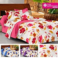 Casa Basics - Ezy Collection 144 TC Red Floral Cotton Double Bedsheet With 2 Pillow Covers for Rs. 499