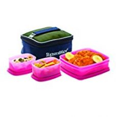 Signoraware Hot N Cute Lunch Box with Bag, Pink for Rs. 370