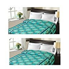 Buy Christy's Collection Super Soft Printed 2 Piece Cotton Blend AC Double Blanket - Multicolor from Amazon