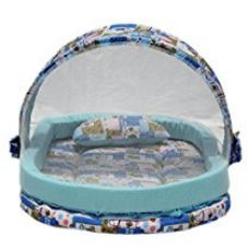 Amardeep and Co Mattress with Mosquito Net and Bumper Guard Animal (Blue) - MT-06-blue-animal-print for Rs. 1,881