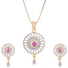 Zeneme Red Designer Pendant Set with Chain Jewellery for Women and Girls for Rs. 2,494