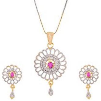 Zeneme Red Designer Pendant Set with Chain Jewellery for Women and Girls for Rs. 323