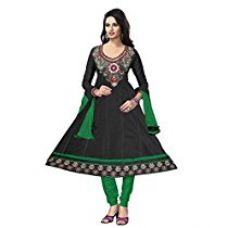 Buy Vibes Womens Poly Cotton Patch Work Anarkali Dress Material (V283-2004 _Black _Free Size) from Amazon