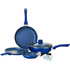 Buy Wonderchef Royal Velvet Induction Base Aluminium Cookware Set with Free Mini Frying Pan, 1.5 Litres, 4-Pieces, Blue from Amazon