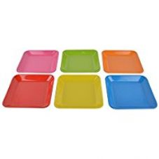 Buy Recon Melamine Snacks Plate, Set Of 6, Rectangle - Deep, Multi-Colour from Amazon