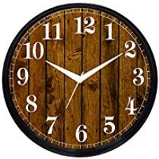 Buy Cartoonpur Round Large Designer Decorative Wooden Look Wall Clock - Ticking 11-Inch Wall Clock,Black from Amazon