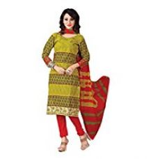 Vibes Womens Cotton Patch Work Straight Dress Material (V237-6 _Green _Free Size) for Rs. 949