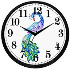 Buy Cartoonpur Round Large Designer Decorative Peacock Wall Clock - Ticking 11-Inch Wall Clock for Home / Bedroom / Living Room / Kitchen from Amazon