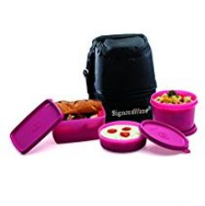 Buy Signoraware Trio Plastic Lunch Box with Bag, Pink from Amazon