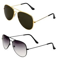 Buy Sheomy Combo Of 2 Aviator Unisex Sunglasses(Sun-000061|55|Black-shd-black-golden Black) from Amazon