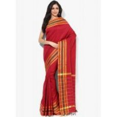Buy SATRANG Red Mysore cottonsilk Striped Saree from ShopClues
