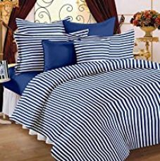 Buy Story@Home Magic Collection Standard 152 TC 100% Cotton Striped Double Bedsheet With 2 Pillow Cover - Blue from Amazon