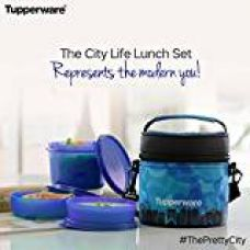 Tupperware City Life Plastic Lunch Set with Bag, 3-Pieces, Blue for Rs. 788