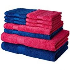 Buy Solimo 100% Cotton 10 Piece Towel Set, 500 GSM (Iris Blue and Paradise Pink) from Amazon