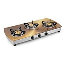 Buy Sunflame Crystal Stainless Steel 3 Burner Gas Stove, Gold from Amazon