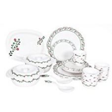 Buy Borosil Milano Prime Rose Melamine Dinner Set, 31 Pieces, White from Amazon