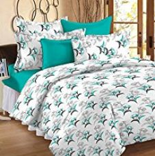 Story@Home 100% Cotton Floral Print Trendy Premium Double Bedsheets with 2 Pillow Covers, Aqua for Rs. 509