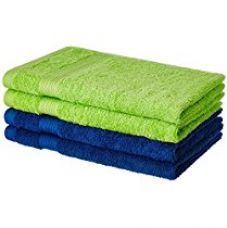 Buy Solimo 4 Piece 500 GSM Cotton Hand Towel Set - Iris Blue and Spring Green from Amazon