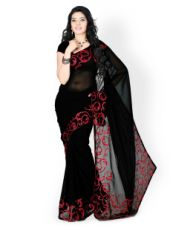 Designersareez Black Embroidered Poly Georgette Partywear Saree for Rs. 497