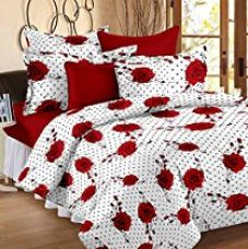 Story@Home Magic 152 TC Red Roses Floral 100 % Cotton Superior Bedsheets for Double Bed with 2 Pillow Covers, Red for Rs. 548