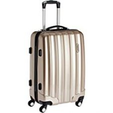 Buy Airmate Polycarbonate 55 cms Gold Hard sided Suitcase (AM009) from Amazon