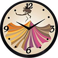 Cartoonpur Round Large Designer Decorative Girl in Skirt Wall Clock - Ticking 11-Inch Wall Clock for Home / Bedroom / Living Room / Kitchen for Rs. 699