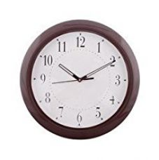 Buy eCraftIndia Decorative Retro Round Plastic Wall Clock (28 cm x 3 cm x 28 cm, Brown) from Amazon