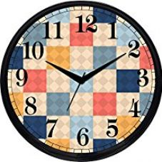 Buy Cartoonpur Round Large Designer Decorative Cute Checks Wall Clock - Ticking 11-Inch Wall Clock for Home / Bedroom / Living Room / Kitchen from Amazon