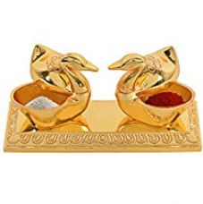 Buy Jaipuri haat Golden Metal Love Bird Duck with Chandan Roli Chopda Pair For Gift and Pooja Purpose from Amazon