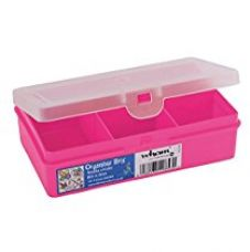 Buy Wham Rectangular Organiser Plastic Box with 5 Divisions, 14.5x9.5x4cm, Pink from Amazon