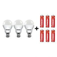 Buy Eveready B22D Base 7-Watt LED Bulb (Pack of 3, Cool Day Light) with Free 6 1015 AA carbon zinc batteries from Amazon