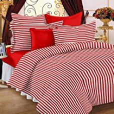 Story@Home Single Bedsheet for Single Bed with 1 Pillow Cover Combo Set - 100% Cotton - Spark Series, 208 TC, Stripes (Red - White) for Rs. 299
