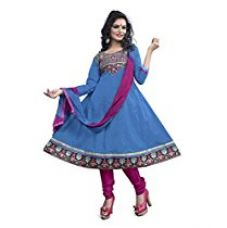 Buy Vibes Womens Poly Cotton Patch Work Anarkali Dress Material (V283-2003 _Blue _Free Size) from Amazon