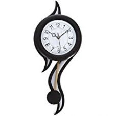 Buy eCraftIndia Decorative Retro Plastic and Glass Pendulum Wall Clock (12.5 cm x 2.5 cm x 45 cm, Black and White) from Amazon