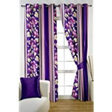 HOMEC Trendy Printed Curtain Set of 2 (Size - Window 46 X 60 inch/Color - Purple) for Rs. 429