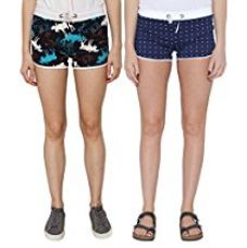 Buy Pepperika Printed Women's Blue Night Shorts (Pack Of 2) from Amazon