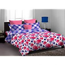 Buy Home Expression USA Callidora Abstract Cotton Double Bedsheet with 2 Pillow Covers - Queen Size, Multicolor from Amazon
