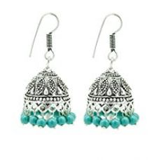 Buy Frabjous Elegant Ethnic Green German Silver Jhumki Earring For Wedding and Formal Events Diwali Special Gift from Amazon