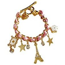 Shining Diva Fashion Stylish Pink Multiple Charm Bracelets for Girls for Rs. 498