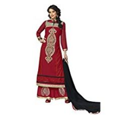 Vibes Women's Georgette Unstitched Dress Materials (V10045_Red) for Rs. 999